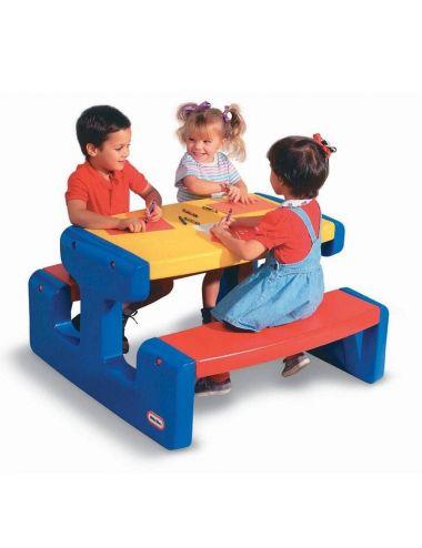 Little Tikes STOLIK PIKNIKOWY Stół z Siedzeniem Niebieski Duży 6 os.