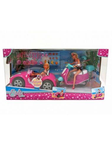Lalka Steffi w kabriolecie i na skuterze Simba