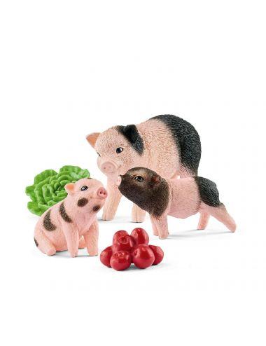 Schleich 42422 Miniaturowe Świnki Locha i Prosiaczki