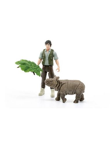 Schleich 42428 Leśniczy i mały Nosorożec