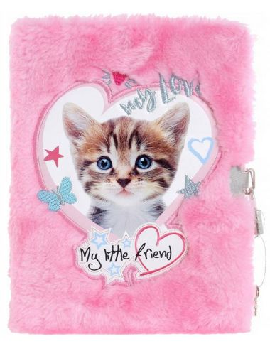 Pamiętnik na Kłódkę My Little Friend Włochacz Cat Pink A5 96K