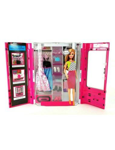 Barbie Garderoba Szafa na Ubrania Walizeczka + Akcesoria DMT75