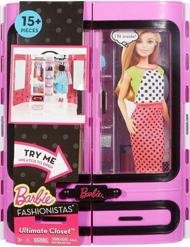 Barbie Garderoba Szafa na Ubrania Walizeczka + Akcesoria DPP63