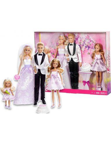 Barbie Zestaw Ślubny Para Młoda 4 Lalki DJR88