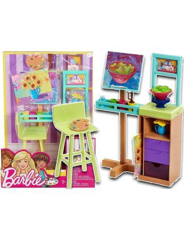 Barbie Pracownia Malarska Zestaw Mebelków FJB26