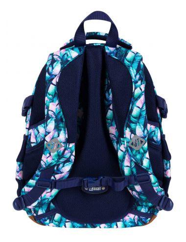 ST.RIGHT Plecak szkolny Błękitne liście 4-komorowy BP1 tył