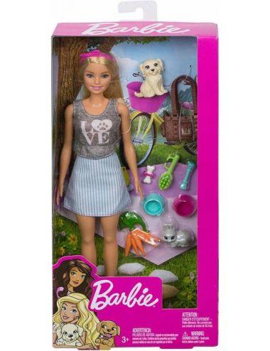 Barbie ze Zwierzątkami Zestaw z Lalką FPR48