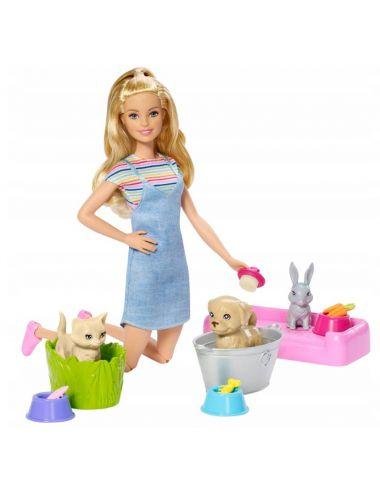 Barbie Kąpiel Zwierzątek Zestaw z Lalką + Akcesoria FXH11