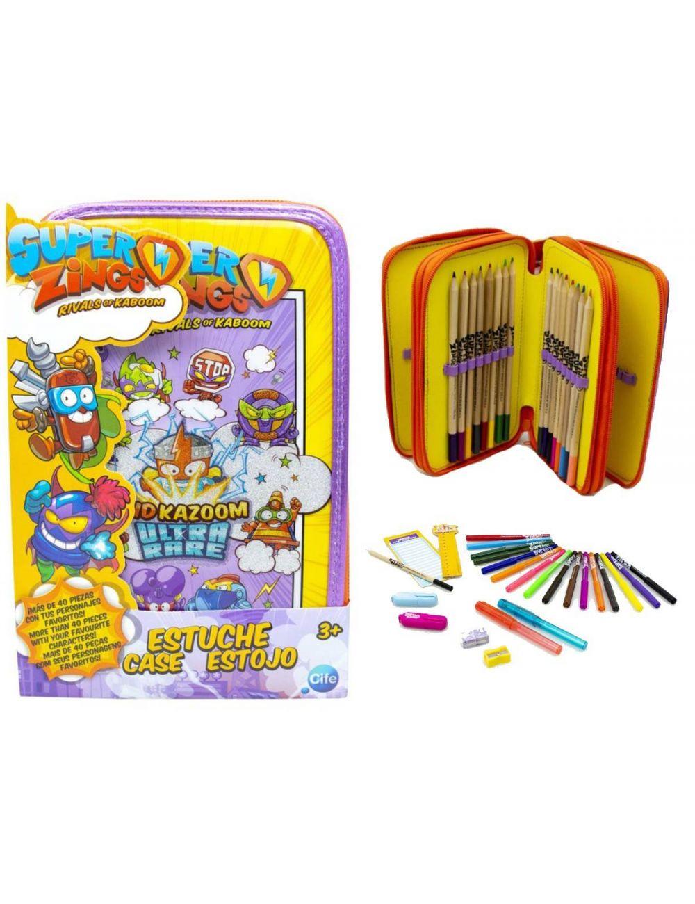 Super Zings piórnik z wyposażeniem trójkomorowy Kid Kazoom