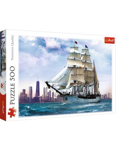 Trefl Puzzle 500el Żaglowiec na Tle Chicago 37120