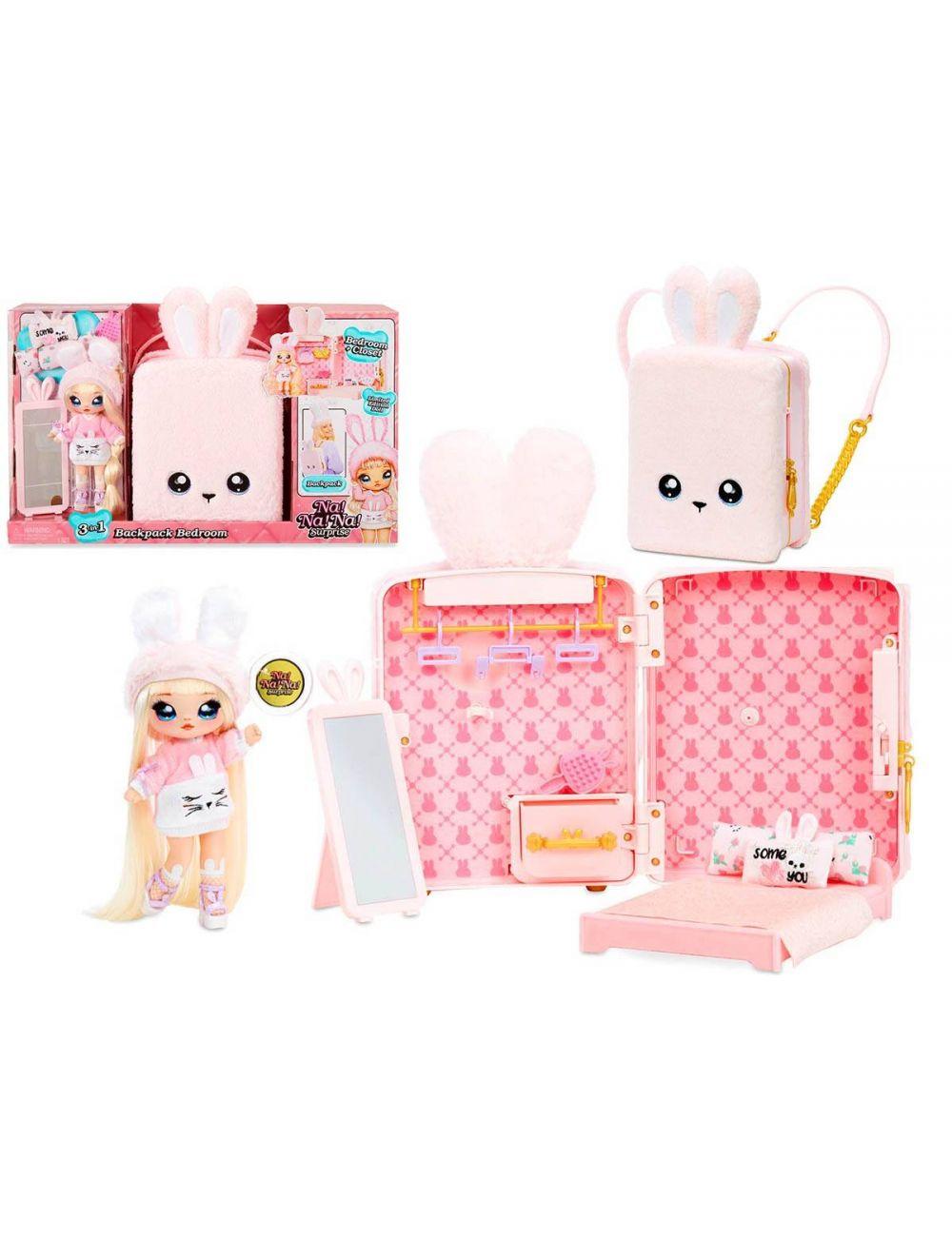 NaNaNa Plecak i laleczka Aubrey Heart różowy królik 3w1