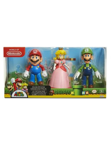 Super Mario Mushroom Kingdom Luigi Peach Mario 3 figurki 64511-4L