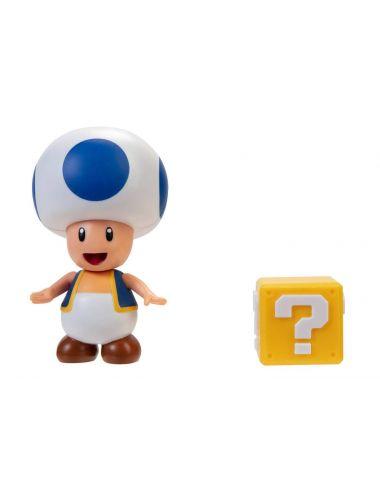 Super Mario niebieski Toad figurka i pytajnik 10 cm 403114