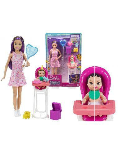 Barbie Laleczka Opiekunka Krzesełko Mini Urodziny GRP40