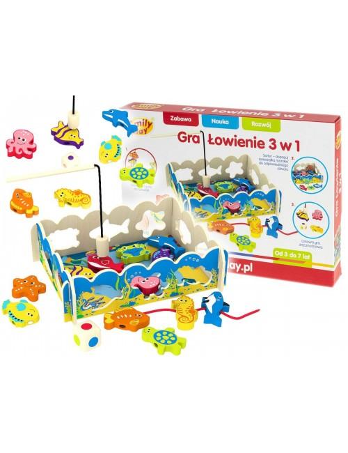 Smily Play 7632 Gra Łowienie Drewniana Zabawka Edukacyjna