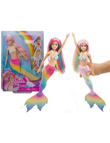 Barbie Lalka Syrenka Tęczowa Przemiana GTF89
