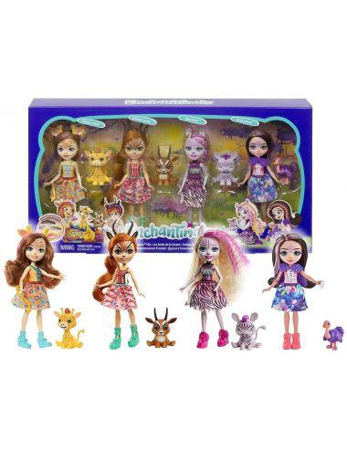 Enchantimals Zestaw Sawanna 4 Lalki i Zwierzątka GYN57 Mattel