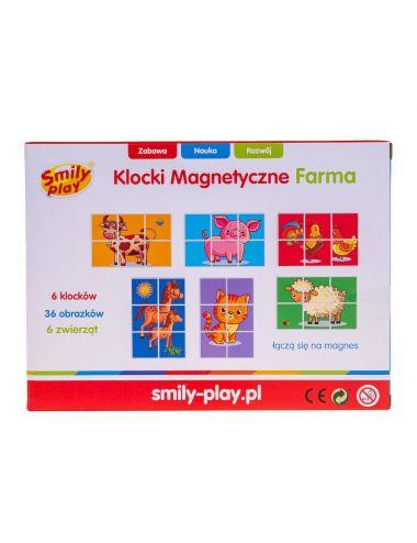 Smily Play Klocki Magnetyczne Farma Układanka Zwierzęta SP83642