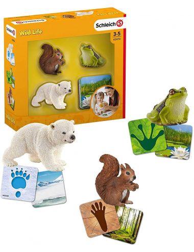 Schleich 42474 figurki i karty z serii Wild Life