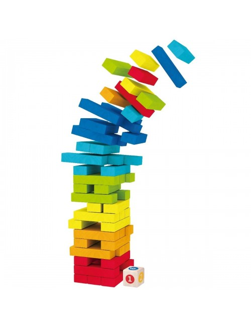 Kolorowa Wieża Jenga Gra Drewniana Smily Play