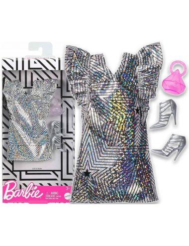 Barbie Ubranko dla Lalki Srebrna Sukienka Modne Kreacje GHW83