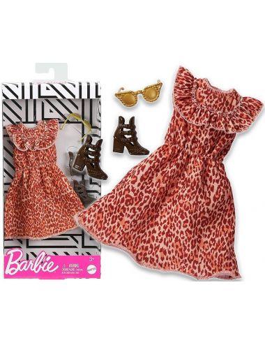 Barbie Ubranko dla Lalki Sukienka w Panterkę Modne Kreacje GHW89