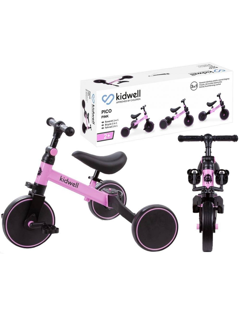 Kidwell Pico Pink Rowerek 3w1 Trójkołowy Różowy