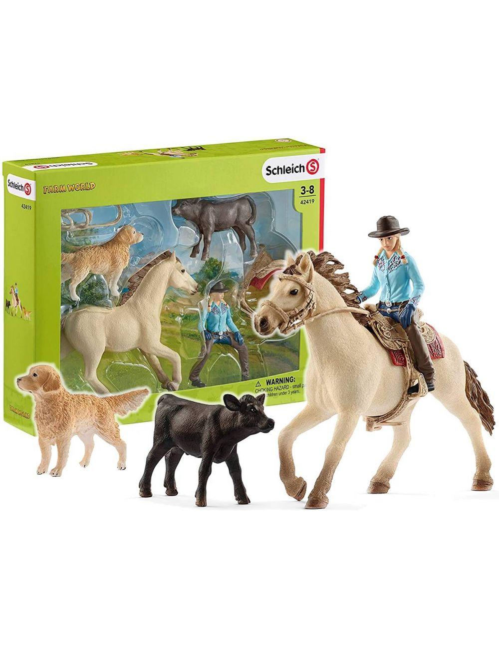 Schleich 42419 zachodni jeździec ze zwierzętami