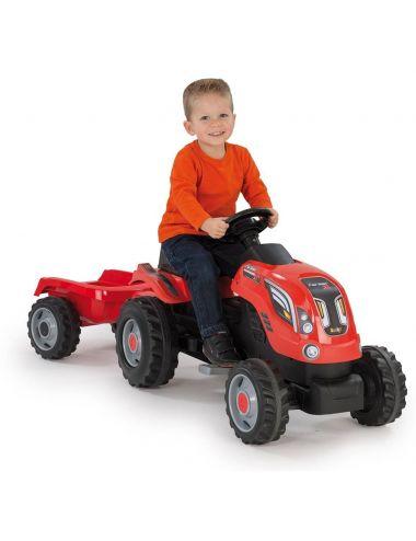 Smoby TRAKTOR FARMER XL ciągnik z przyczepą Czerwony