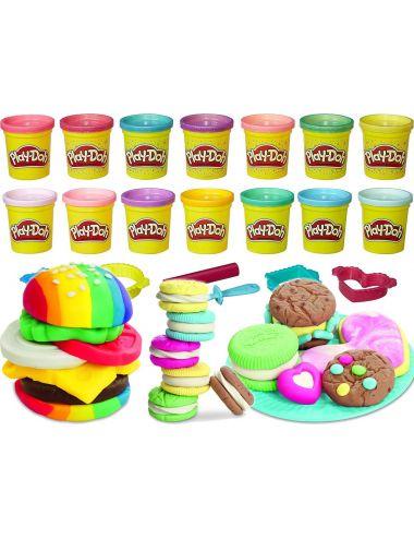 Play-Doh Zestaw 14-pak Kolorowa I Brokatowa Ciastolina Hasbro B6380